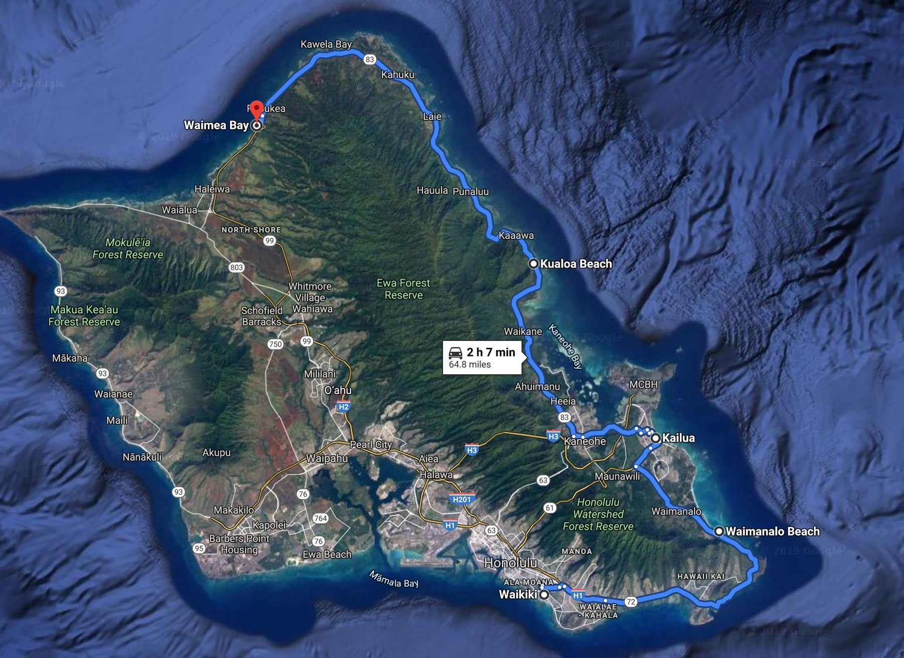 Oahu driving map from Waikiki to North Shore