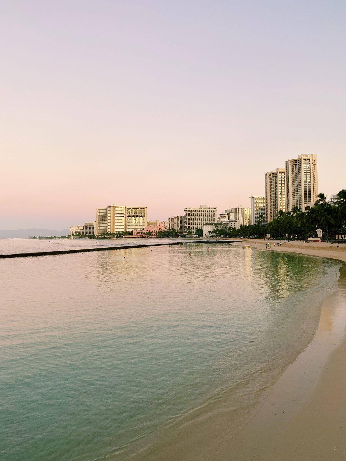 Waikiki beach Oahu sunrise acharmingescape