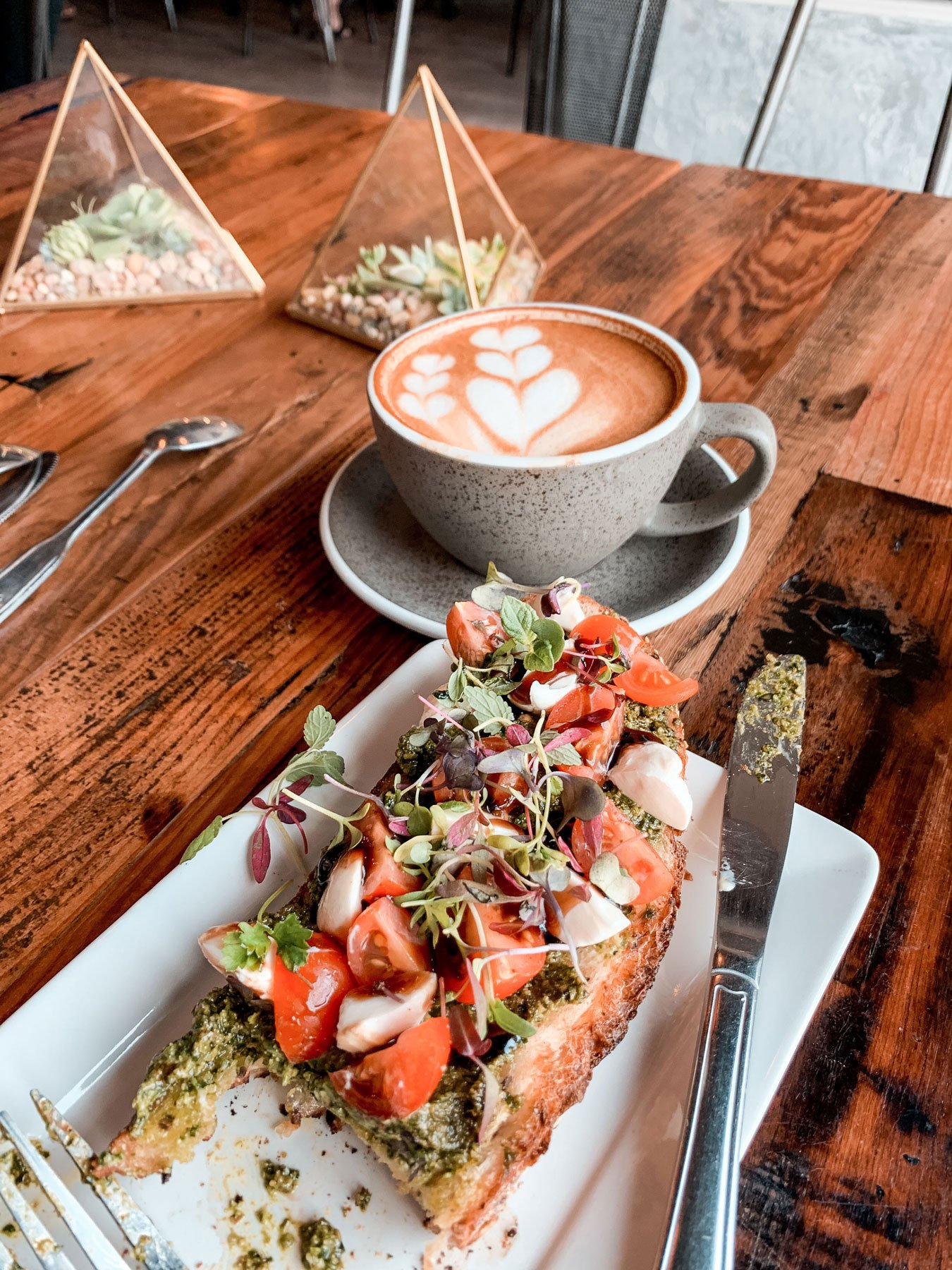 Coffee and toast at Caje Coffee Santa Barbara