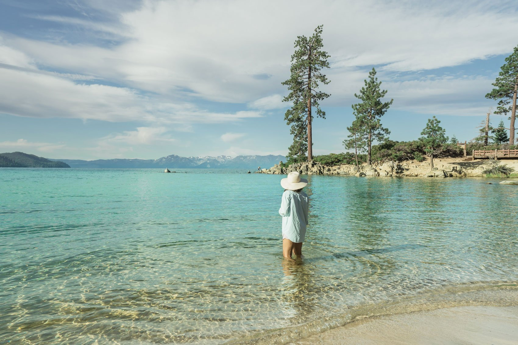 Woman at Sand Harbor beach, Lake Tahoe