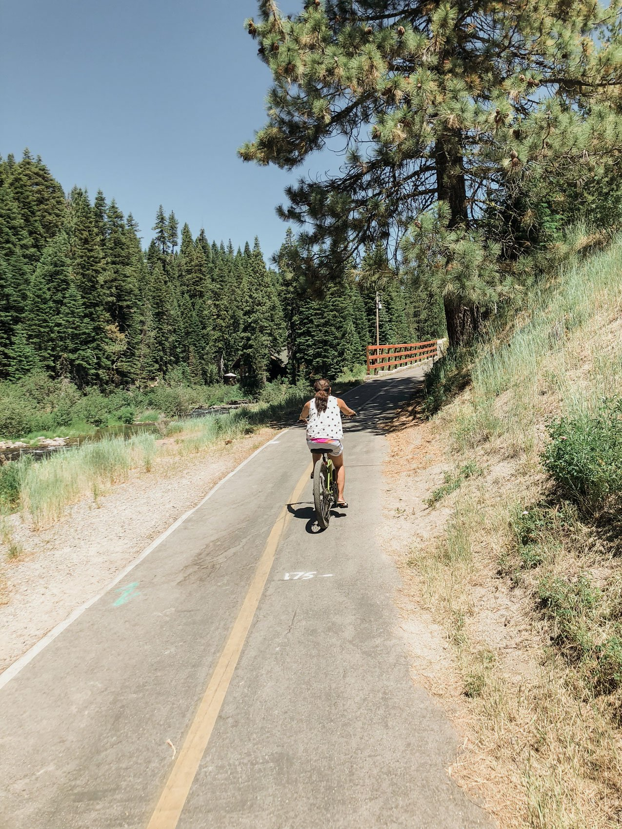 Woman biking Truckee river bike trail