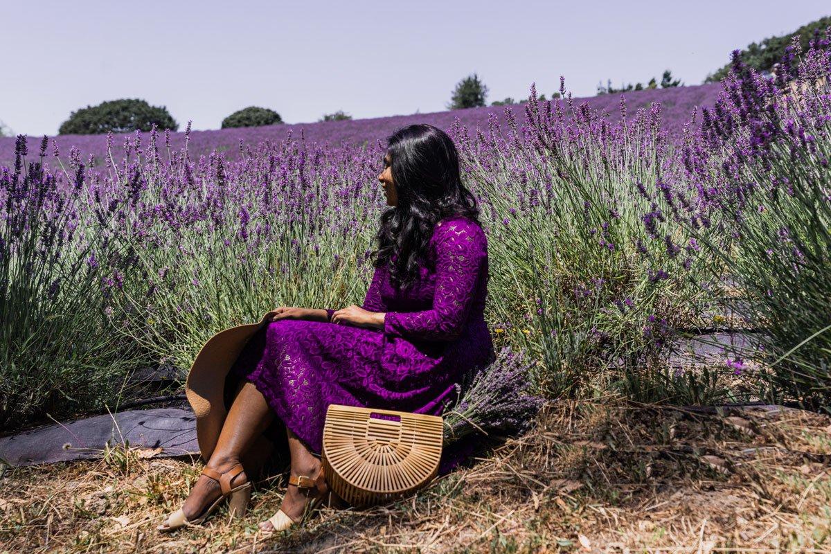 Woman sitting in lavender farm