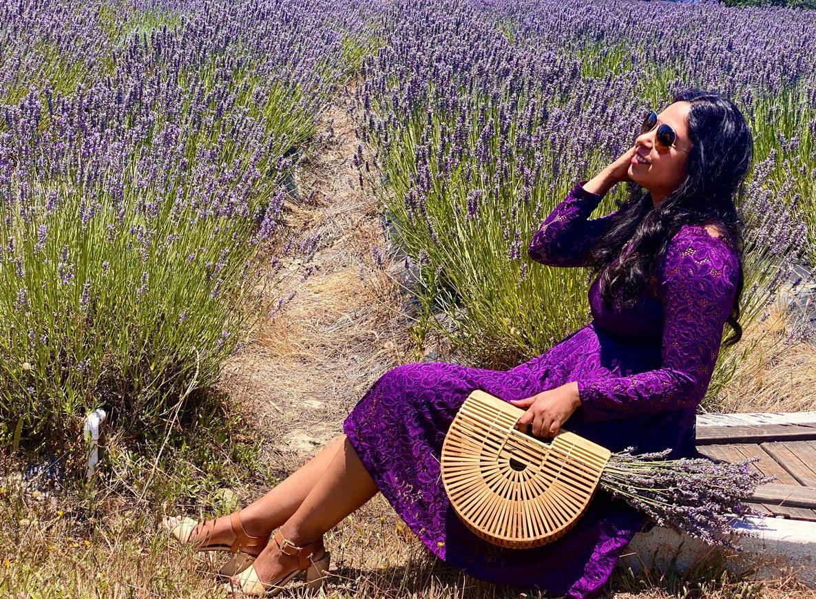 Woman in lavender farm, Sonoma County