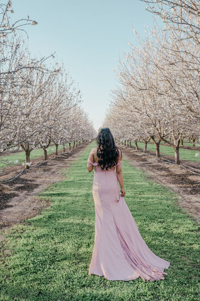 Woman in beautiful almond orchards California