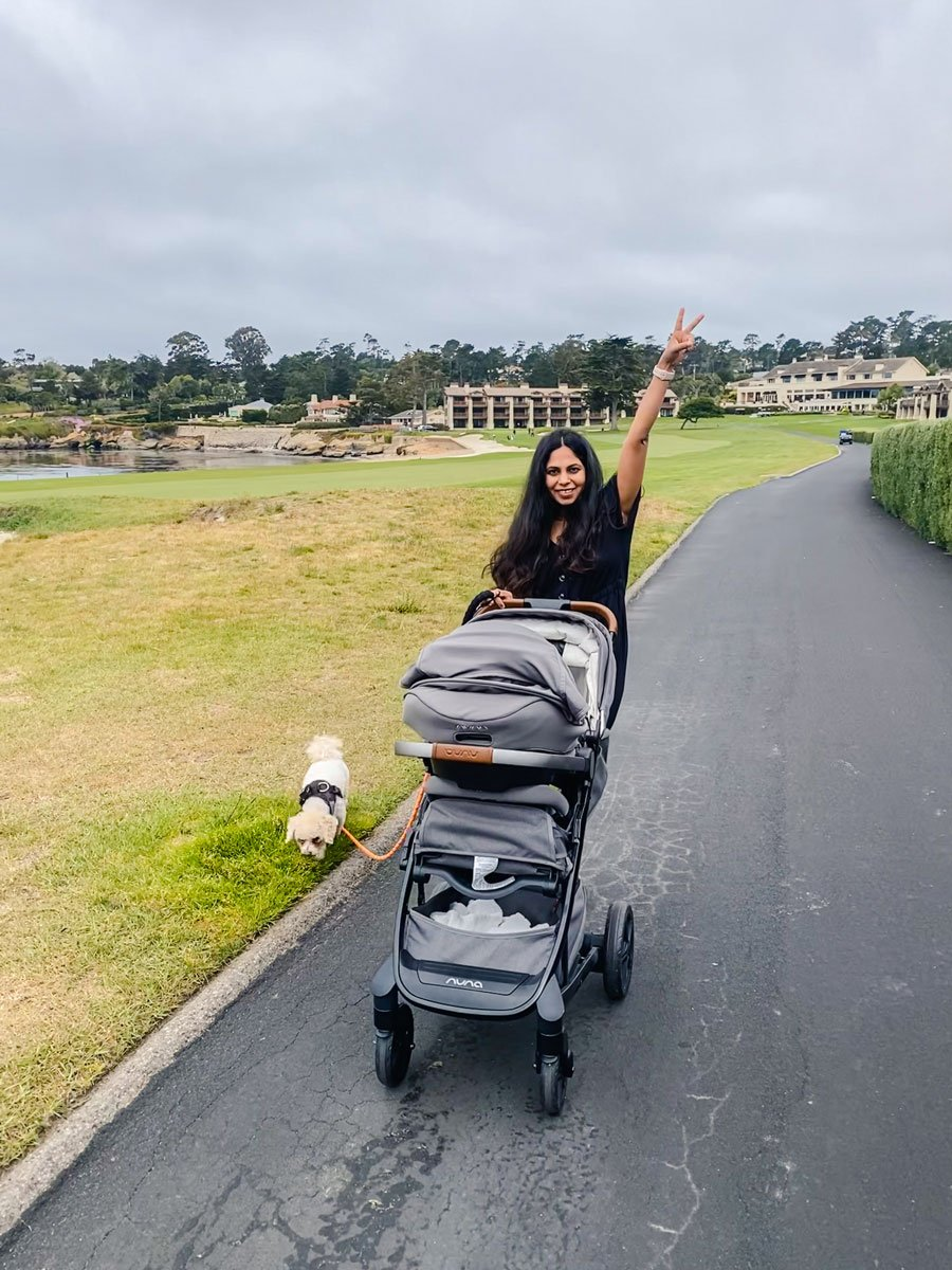woman walking dog with stroller