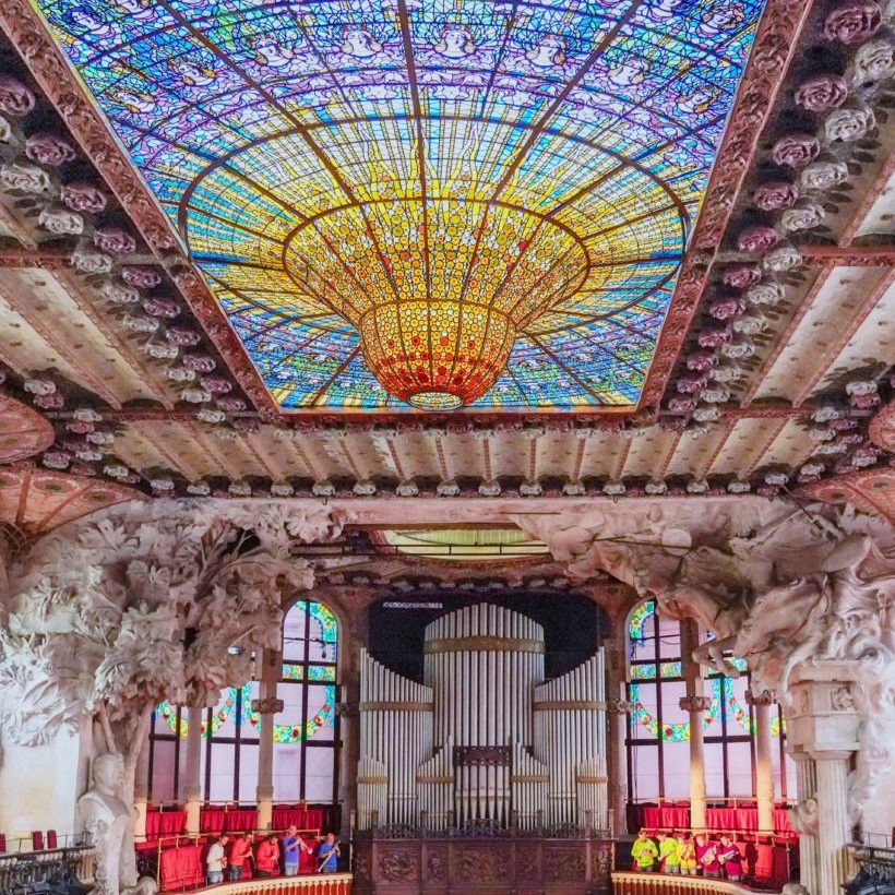Palau de la Musica Catalana stained glass ceiling Barcelona